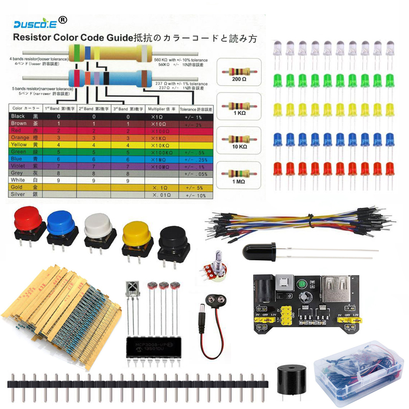 Electronics Component Kit with LED diode Resistor Potentiometer 10K Breadboard Power Module Jumper Wire for Arduino Raspberry Pi image