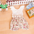 Hot Sale baby playsuit In Floral ,White  Rose Flower Printed baby romper ,Backless Baby girls Romper With Lace Collar
