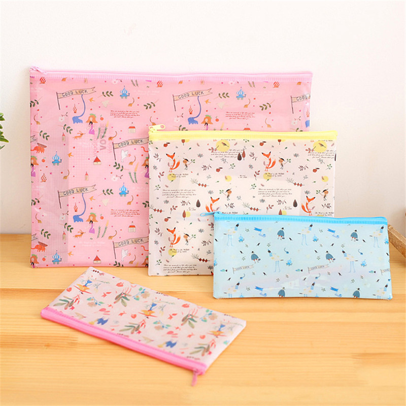 Korean Creative Forest Zipper Waterproof File Pencil Case Stationery Store Pen Bag Pouch School Holder Pencilcase Cute Organizer