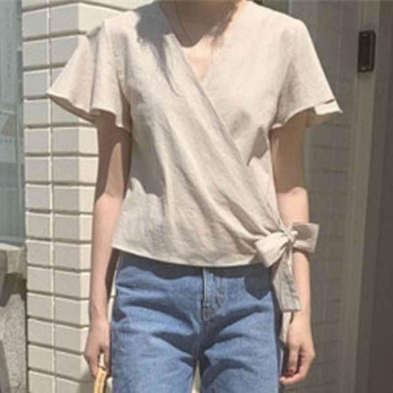 אלגנטי קוריאני סגנון Boho משרד גבירותיי בציר מזדמן חולצה נשים Loose רגיל Bowknot רטרו חוף נקבה אופנה חולצות חולצות