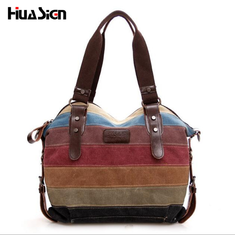 Fashion Women Stripe Handbag Canvas Shoulder Bag Messenger Crossbody Bags Satchel Hit Color