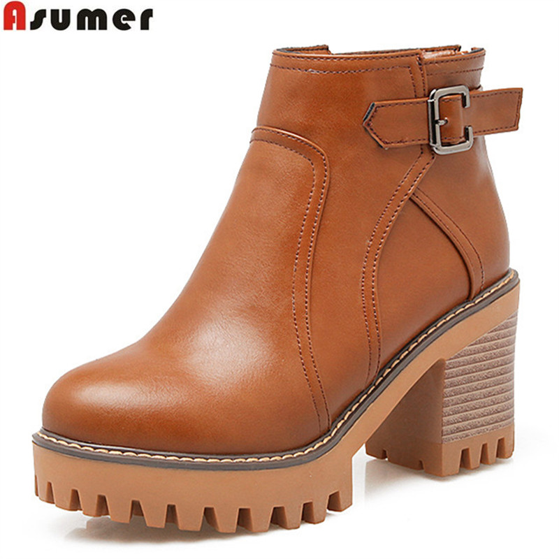 Asumer fashion black gray brown new arrive women boots zipper buckle square heel ankle boots platform