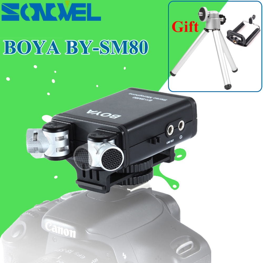 BOYA BY-SM80 Stereo Video Microphone with MIC Windshield for Canon Nikon Sony DSLR Camera Microphone Camcorder + MINI Tripod цены онлайн