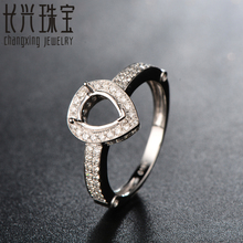 18K White Gold Semi Mount Engagement Pave Diamond Ring Setting 6x8mm Pear for men and women