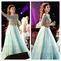 Famous Singer Myriam Fares Brilliant Crystal Chiffon Scoop NeckProm&Celebrity Dresses Color&Size Customize vestido de festa