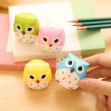 Hot Sale Adorable Cartoon Owl Shaped Two Holes Plastic Portable Lightweight Pencil Sharpener Color Random(China)