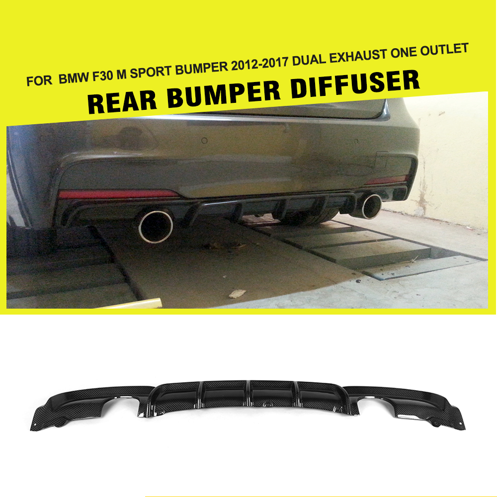 Carbon Firber / FRP Car Styling Rear Bumper Guard Diffuser Lip Spoiler for BMW F30 M Sport 2012 - 2017 Dual Exhaust One Outlet 5 series carbon fiber rear bumper lip spoiler diffuser for bmw f10 m sport sedan 2012 2016 d style grey frp dual exhaust two out