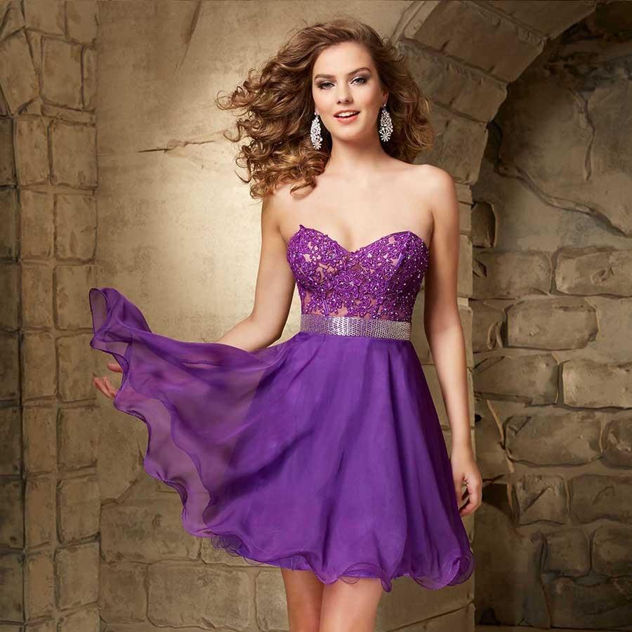 Popular Short Purple Sparkly Prom Dress-Buy Cheap Short Purple ...