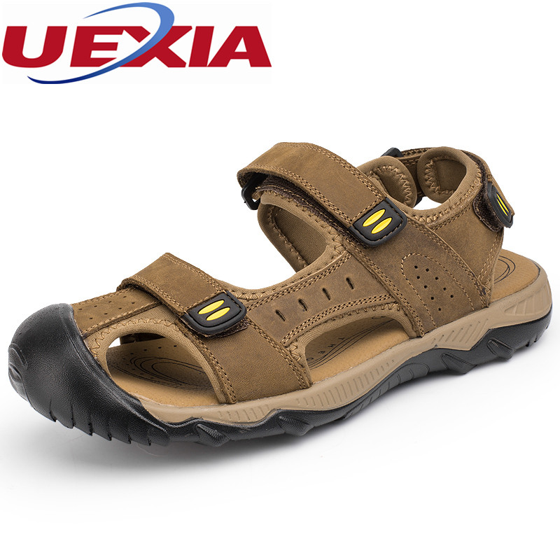 Walking Beach Big Size 48 Leather Zapatos Masculino Outdoor Sport Casual Sandals Chaussure Shoes Designer Flats