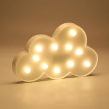 Creative LED 3D Cloud Night Lamp Battery Powered White Cloud Letter Light Home Decor Baby Light For Kids Bedroom Christmas Gift