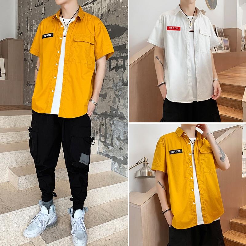2019 Summer Men Shirt Cotton Short Sleeve Shirt Men Streetwear Turn Down Collar Loose Casual Shirts Male New Fashion