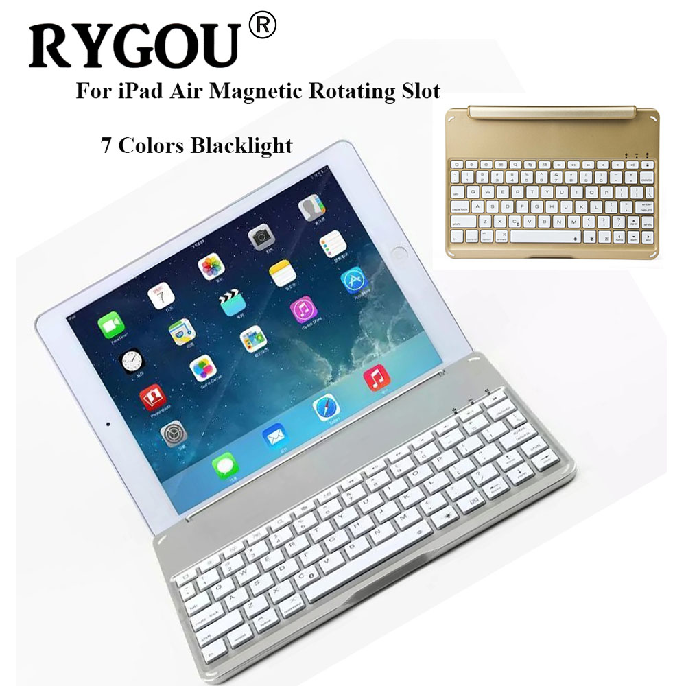 все цены на RYGOU Ultrathin Wireless Keyboard for iPad Air Bluetooth Keyboard 7 Colors Backlight Backlit Magnetic Rotating Slot Smart Cover онлайн