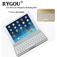 Ultrathin Wireless Keyboard For IPad Air Bluetooth Keyboard With 7 Colors Backlight Backlit Magnetic Rotating