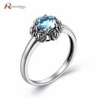 Luxe Vrouw Sieraden Vinger Accessoire Rose Hemelsblauw Crystal Real 925 Sterling Zilveren Trouwringen Oktober Geboortesteen Ring