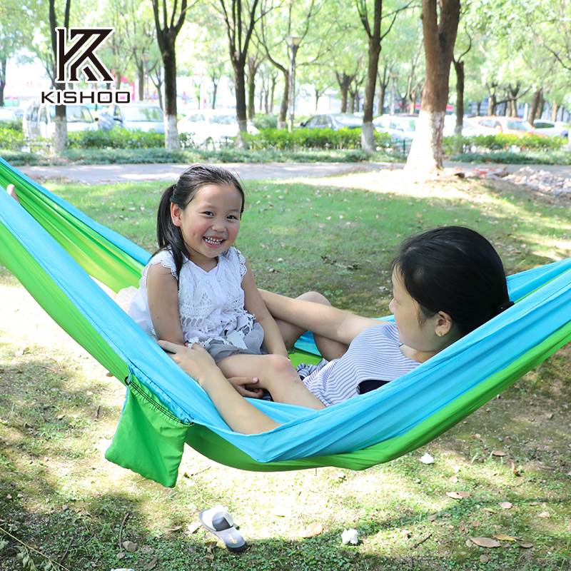 2 People Portable Parachute Hammock Camping Fabric Double Spreader Survival Garden Hunting Leisure Travel Double Person 20 color 2 people hammock 2016 camping survival garden hunting leisure travel double person portable parachute hammocks 3m 2m