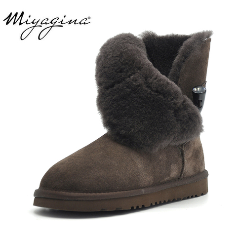 Free Shipping New Arrival 100% Real Fur Classic Mujer Botas Waterproof Genuine Cowhide Leather Snow Boots Winter Shoes for Women Pakistan