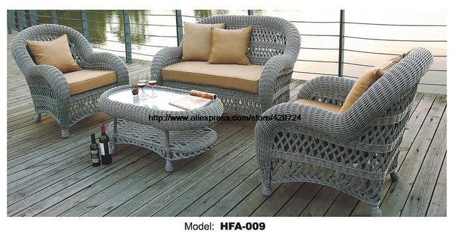 Lujo handmake ronda conjunto de sofás de mimbre al aire libre jardín patio Muebles sofá sillas mesa de cristal sofá de caña conjunto balcón ...