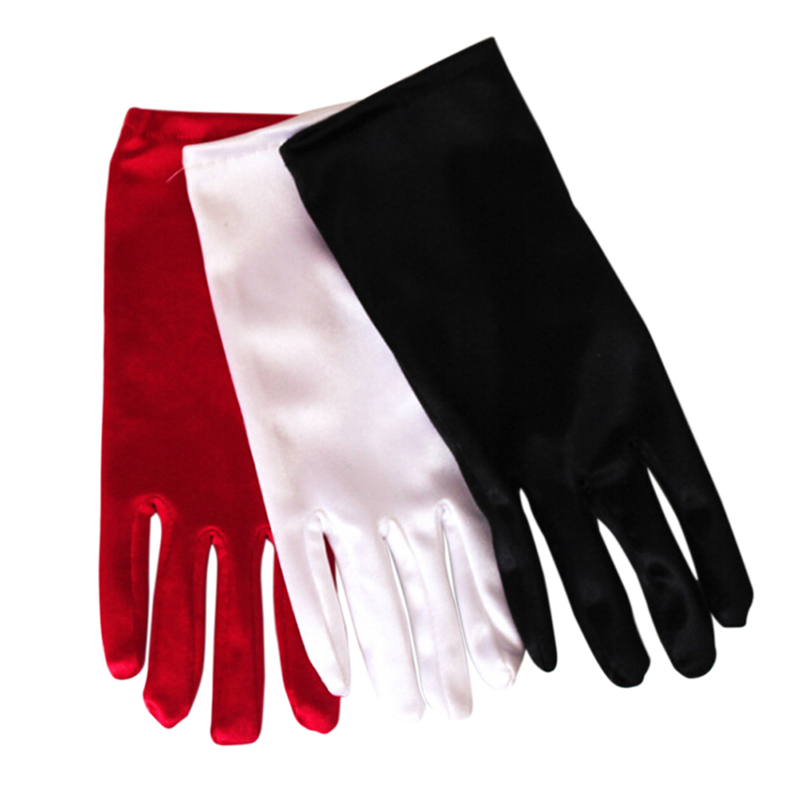 1 Pair Popular Lady Girl Short Gloves Black White Red Mittens Fashion Prom Evening Party Costume Dance Wrist Gloves