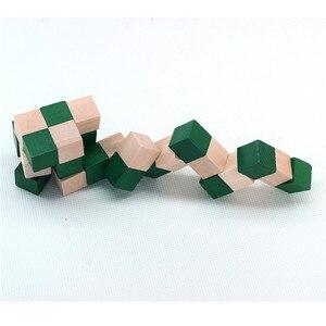 Image 2 - 27 セクション木製の定規ヘビツイストパズルホット販売チャレンジ IQ 脳のおもちゃ古典的なゲーム