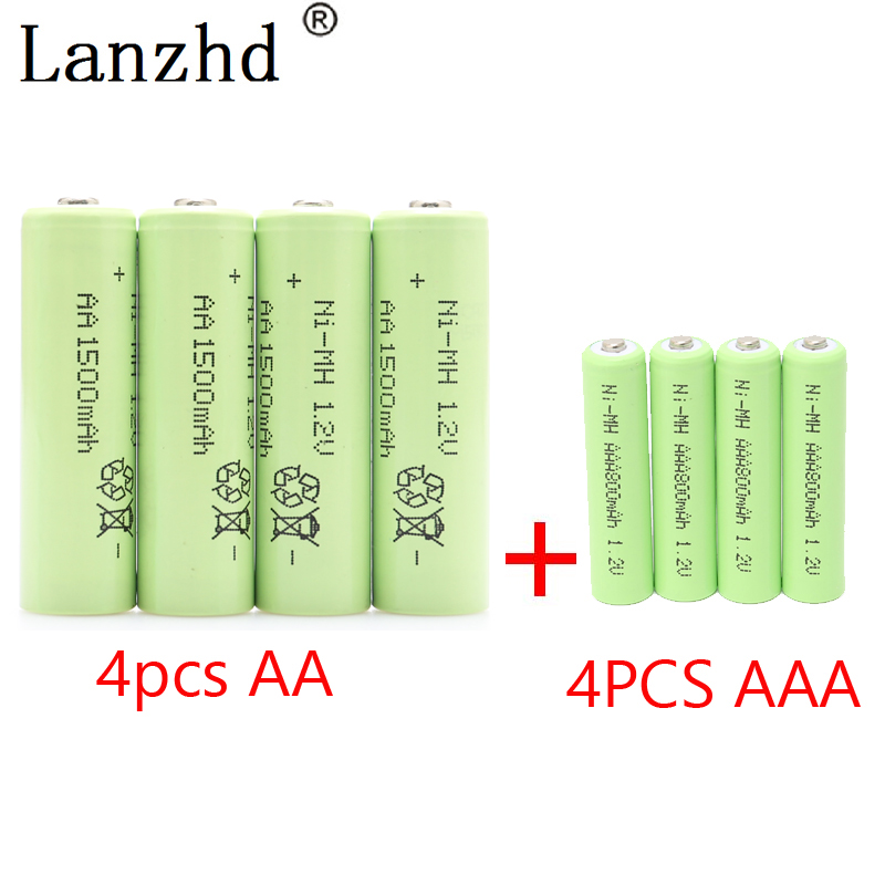 AA Rechargeable Battery AAA NiMH Battery 1 2V rechargeable batteries for Remote Control Toy camera 4Pcs AA 4Pcs AAA in Rechargeable Batteries from Consumer Electronics