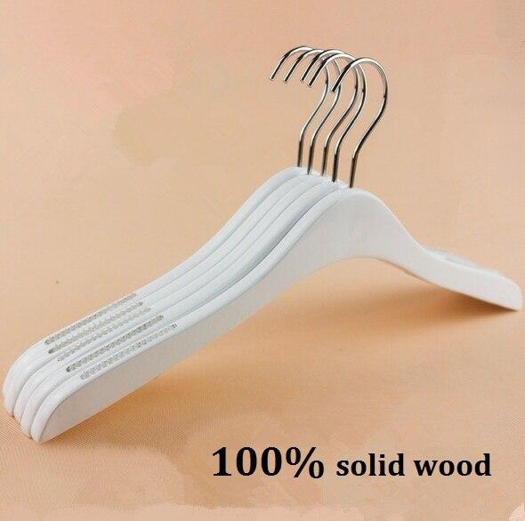 5pcs White wood hangers non slip white cloth hanger 360 degree hooks rack 40cm free shipping