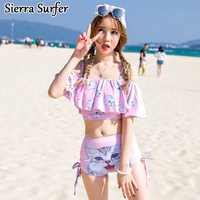 South Korea S New Sexy Fashion Cartoon Cat Size Chest Flouncing Gather High Waist Pants Split