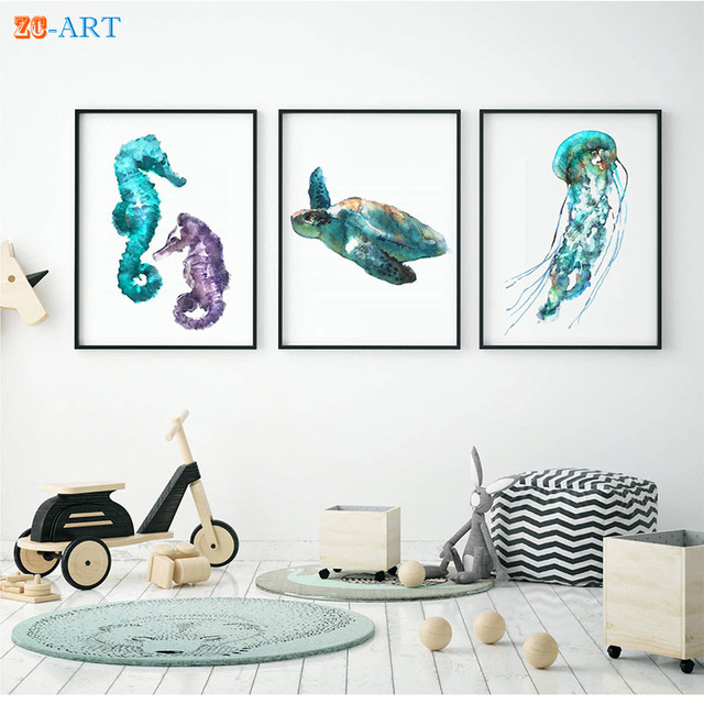 Exceptional Nautical Print Seaturtle Seahorses Jellyfish Blue Nursery Decor Oceanic  Creatures Wall Art Kids Room Animal Watercolor Painting