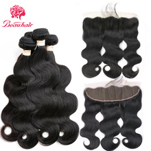 Beauhair Malaysian Body Wave Human Hair Weave 2/3 Bundles With 13*4 Lace Frontal Non Remy  Closure With Bundles Free Shipping