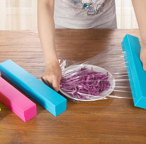 Home Foil Cling Film Cutter Wrap Dispenser Cutter Plastic And Stainless Steel Storage Roll Holder Kitchen Tool Colour Random