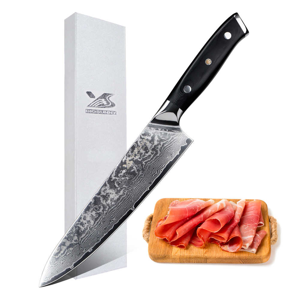 BIGSUNNY 8 inch Chef Knife Sharp Japanese VG10 Steel Blade Kitchen Knives Damascus Cleaver Slicing Cutting G10 Handle