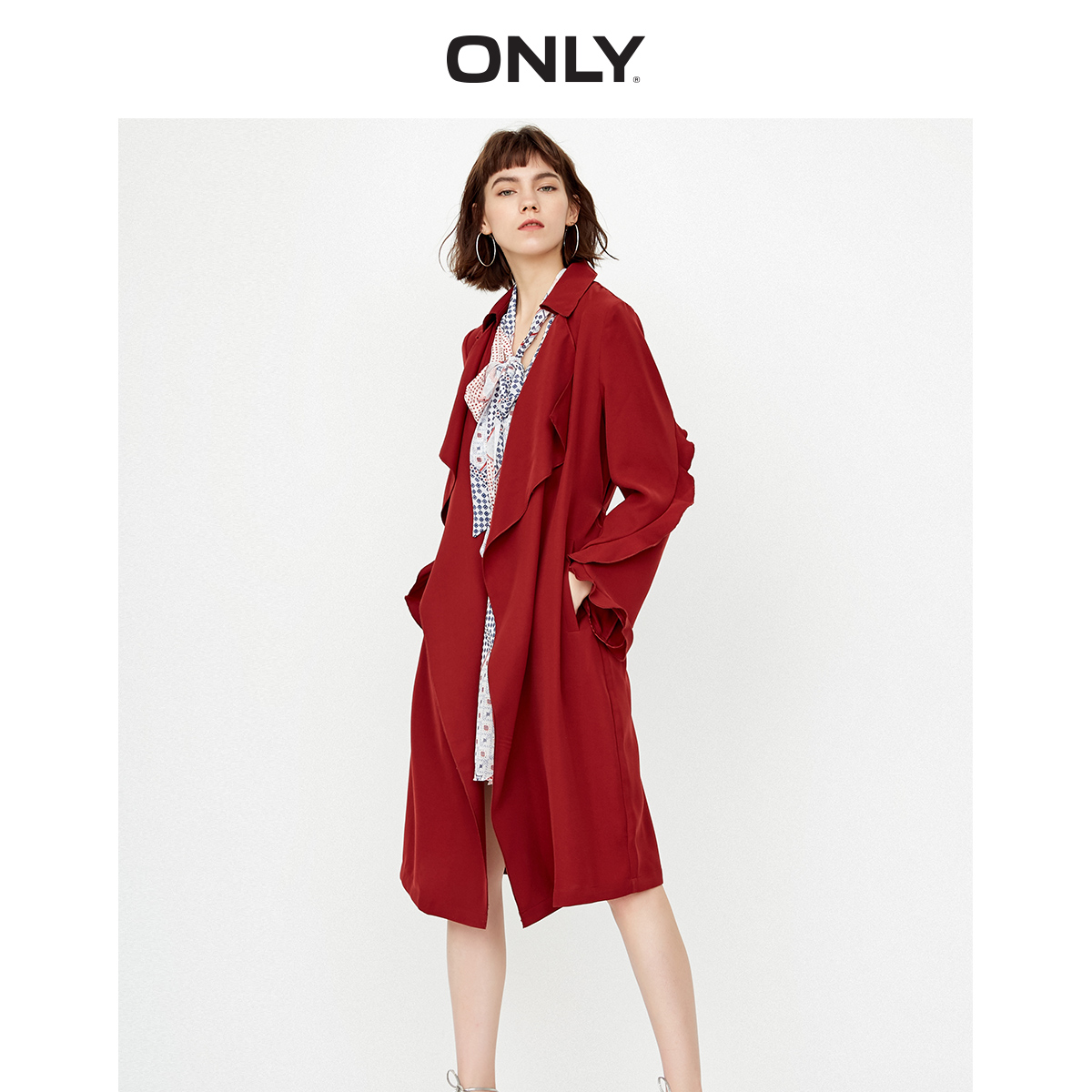 ONLY Women's Slim Fit Lace-up Ruffled Long Wind Coat | 118336510