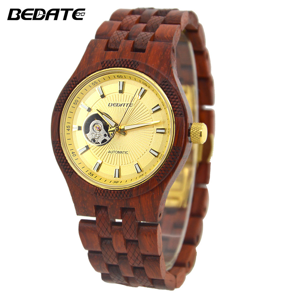 лучшая цена BEDATE New Fashion Relogio Masculino Mechanical Watch Wooden Watch Simple Atmosphere Reloj Hombre Men Watches ZS-W135AG