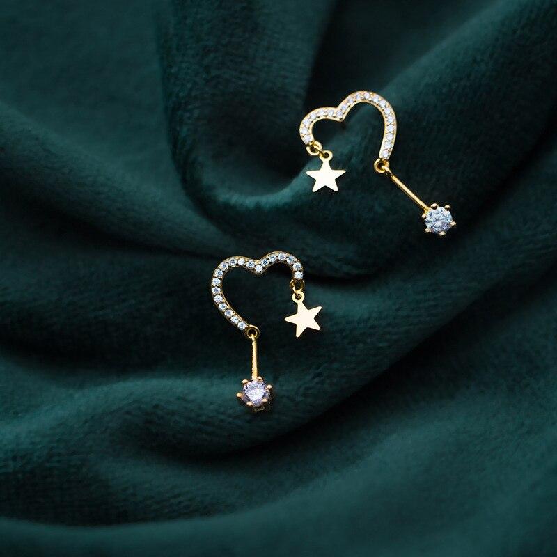 Modian New Sale Stars Earring Charm 100% 925 Sterling Silver Hearts Design Swing Clear Zircon Stud Earrings For Women Jewelry