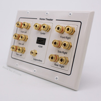 Gold Audio Speaker Connector Panel Socket Multifunction Terminal Box Wall Outlet For HDMI Subwoofer Theater System On Sale