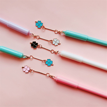 4pcs Lucky Clover gel pen set Mini four leaf pendant 0.5mm Black color pens writing gift Stationery Office school supplies A6549