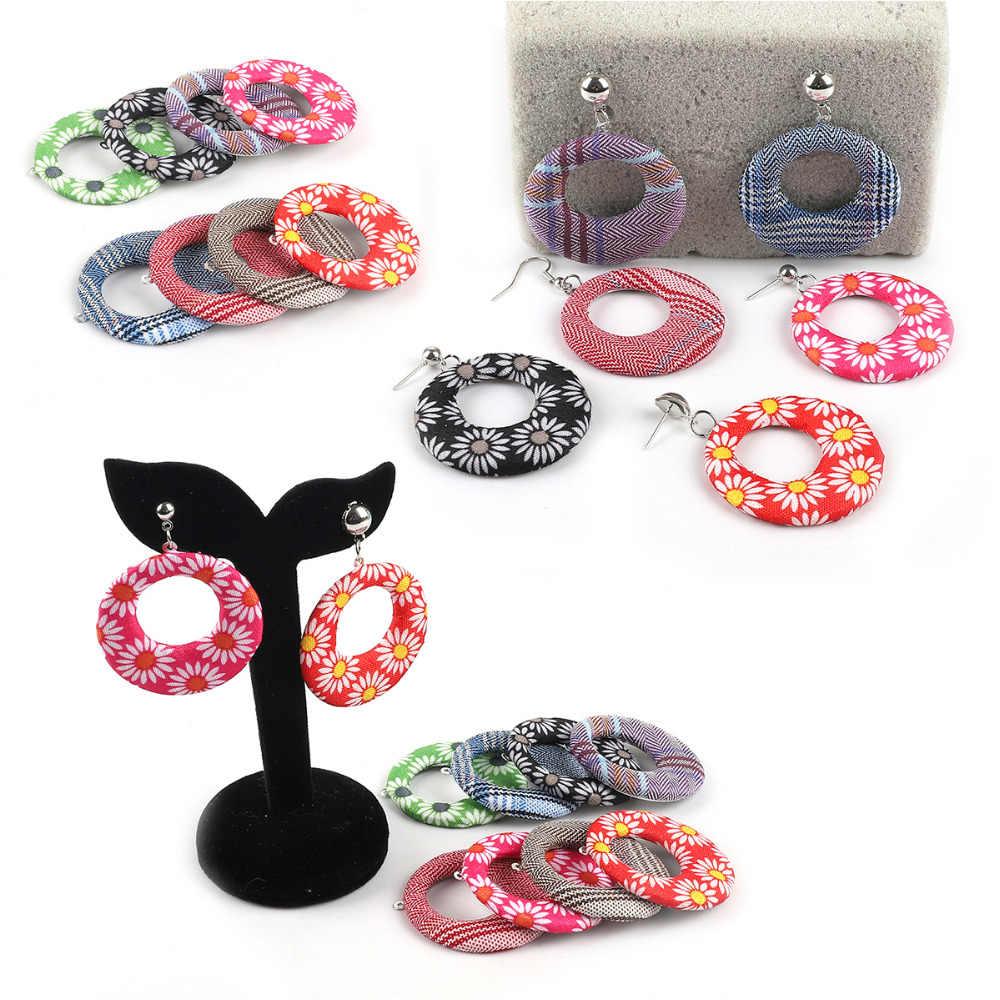 ดอกไม้พิมพ์ผ้าแฟชั่นประดับโบฮีเมียCharmจี้สำหรับDIYสร้อยคอเครื่องประดับDropต่างหูทำอุปกรณ์เสริม