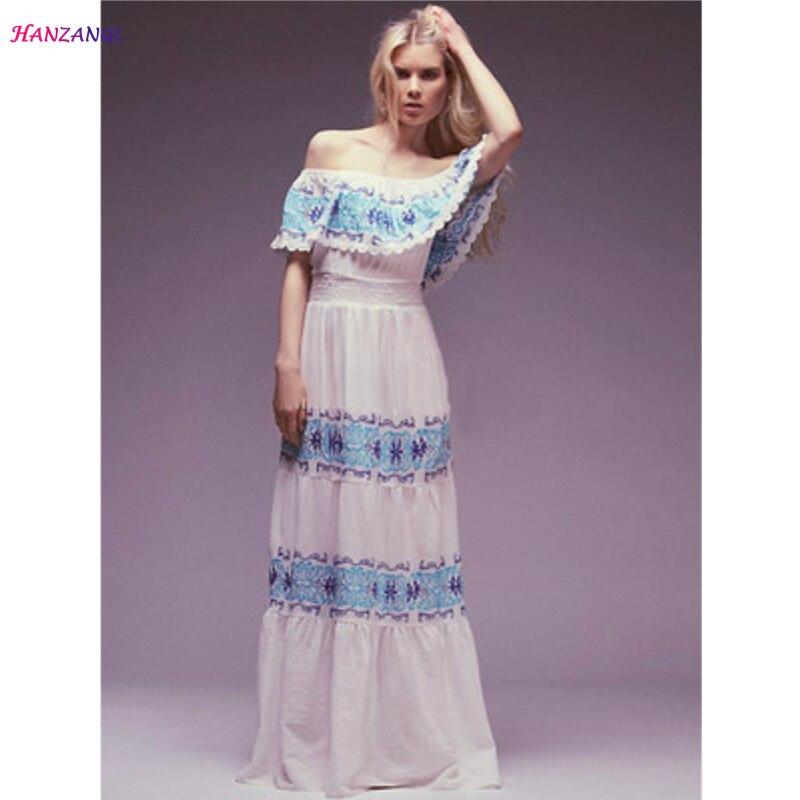 HANZANGL Women Beach Dress Sexy Ruffle Slash Neck Off the Shoulder Embroidery Party Dresses White Boho Vestidos