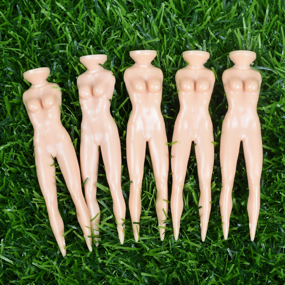 10Pcs/lot Golf Plastic Tee Novelty Joke Naked Nude Lady Golf Tee Practice Training Golf Tees Bulk 70mm