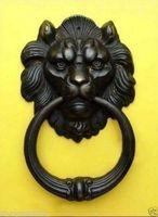 Exquis Bronze Chinois Féroce Tête de Lion Heurtoir De Porte 7