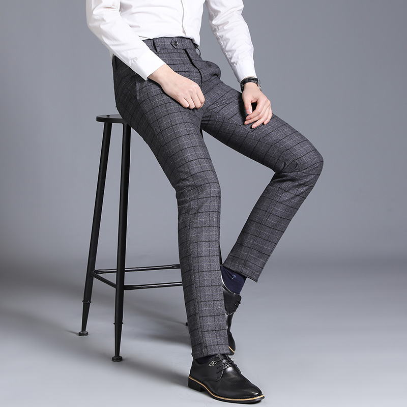 Suit Pants Dress Trousers Navy Slim Business Casual Men's Straight Spring Fit-Gray New-Fashion