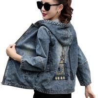 Plus Size 4XL 5XL 2019 Spring Bomber Jacket Women Embroidered Denim Jacket Bombers Hooded Jaqueta Jeans Women Basic Coats C3191