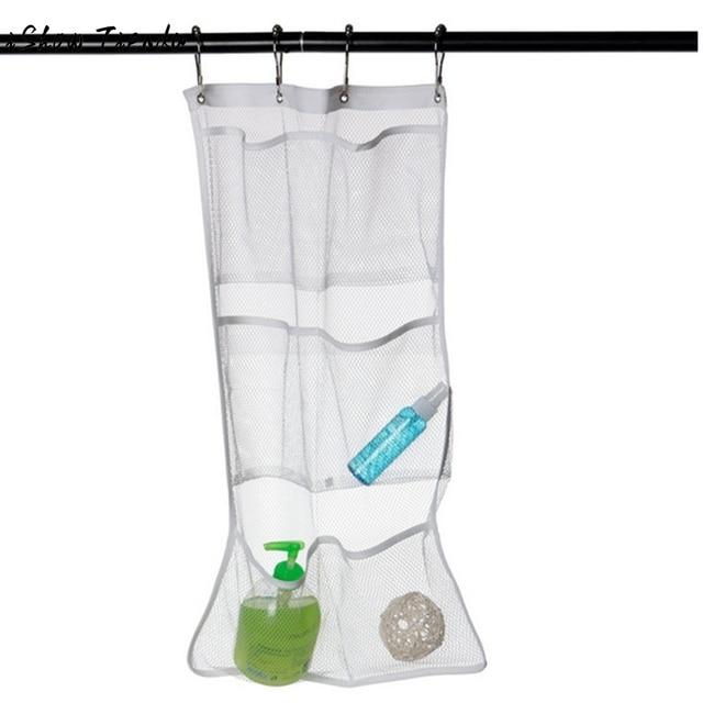 6 Pocket Bagno Doccia Vasca Da Bagno Appeso Mesh Organizzatore Di Stoccaggio Cad