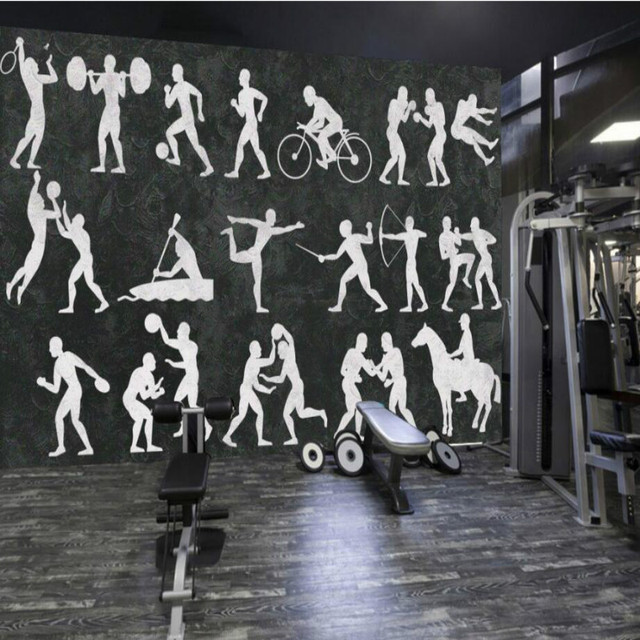 3D Wallpaper For Walls 3d Fresco Vinyl Wall Paper Vintage Fitness Sport Decoration Painting Wallpapers
