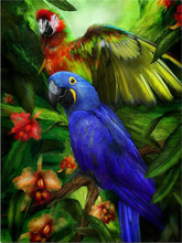 Picture of diamonds animal on the trees diamond embroidery parrot bird handcraft mosaic hobby home decoration