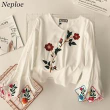 Neploe Heavy Floral bordado camisa Bohemia mujer dulce blusa cuello pico  Flare manga Top Camisas Mujer casual ropa 37263 3fce6b97e49