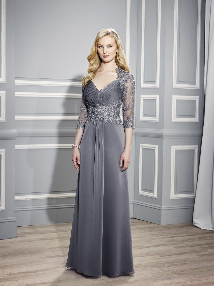 Queen Anne Neckline And Sheer High Back Drop Waist And 3/4 Sleeves ...