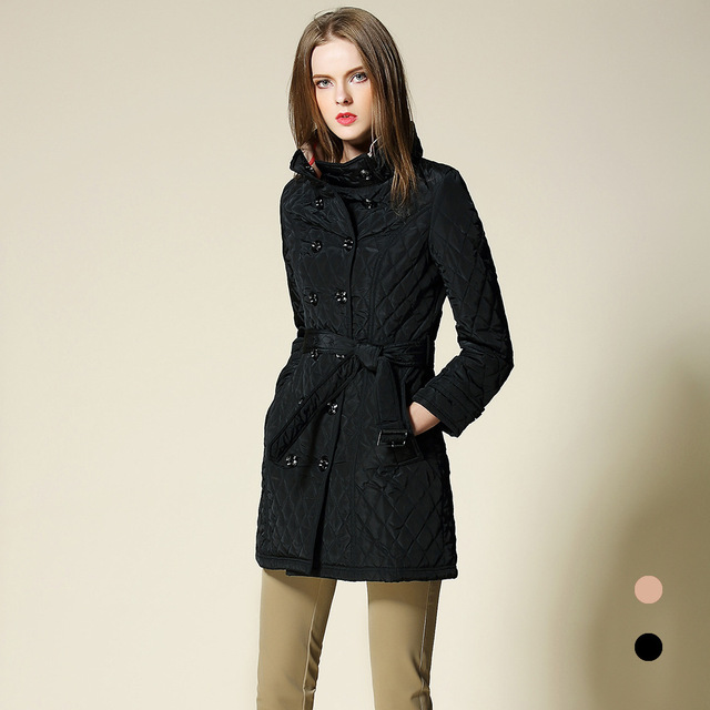 da79b368b0637 Best quality B brand plaid check lining women Autumn winter Coat British  Style slim OuterWear stand neck Parkas Cotton Overcoat