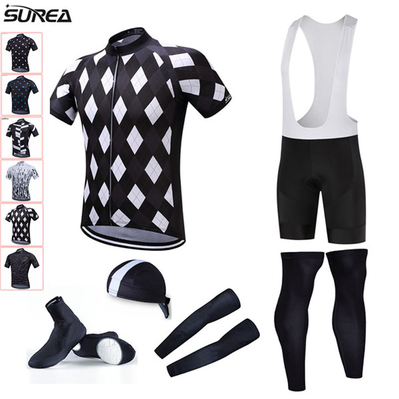 2017 Pro Team Cycling Jersey Set Bicycle Clothing Bibs Shorts with hat shose cover Ropa Bike Wear Suit MTB maillot ciclismo