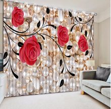 Red rose Curtains Decoration European 3D Curtains For Living room Blackout Roaantic Wedding room Bedroom Window Curtain(China)