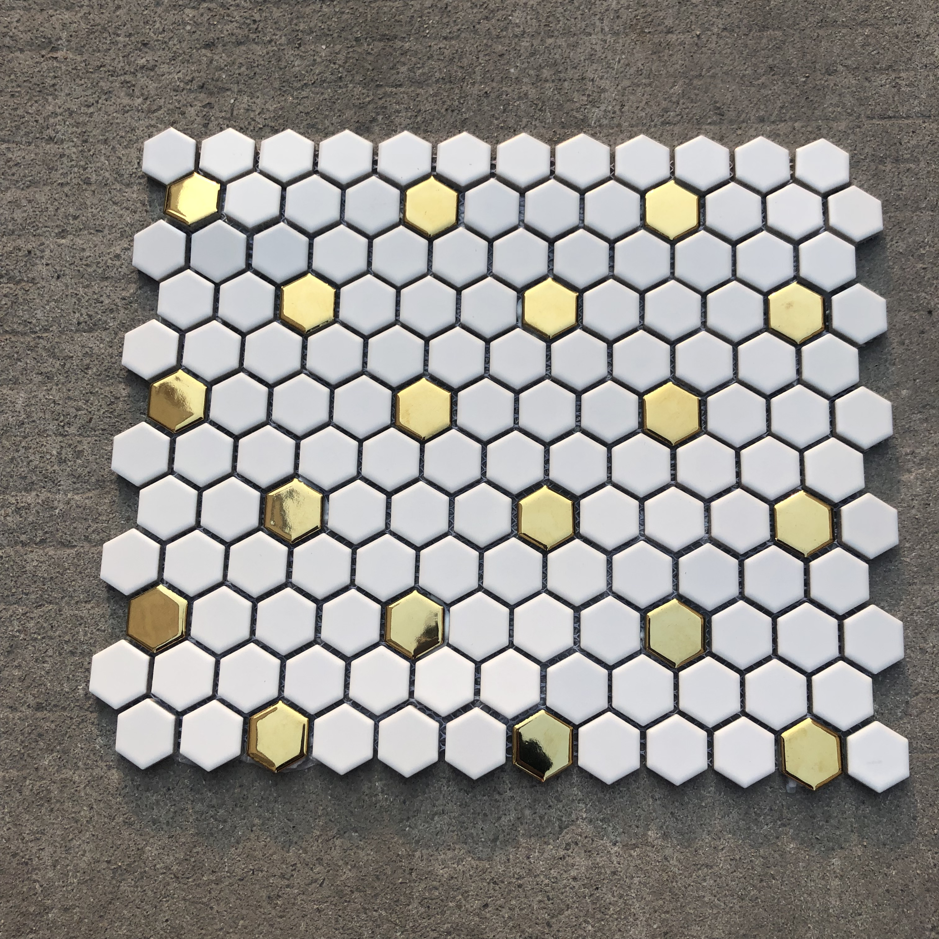 - New Hexagon Glossy Surface Gold And White Ceramic Mosaic Tile